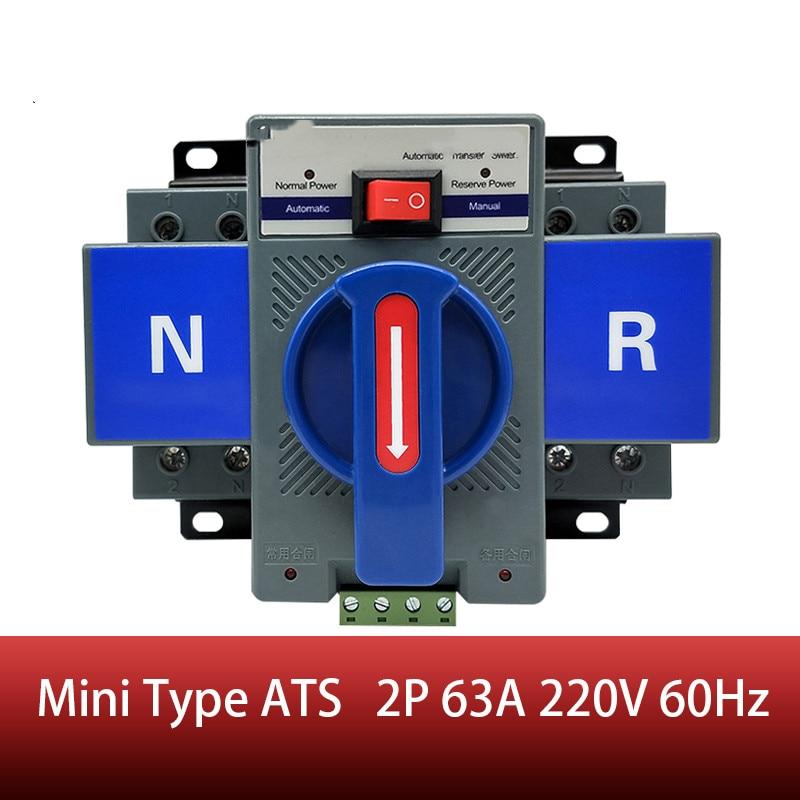 Para ruso 2P 63A 230V MCB Doble potencia interruptor de transferencia automática ATS voltaje nominal 220V /380V Frecuencia nominal 50/60Hz
