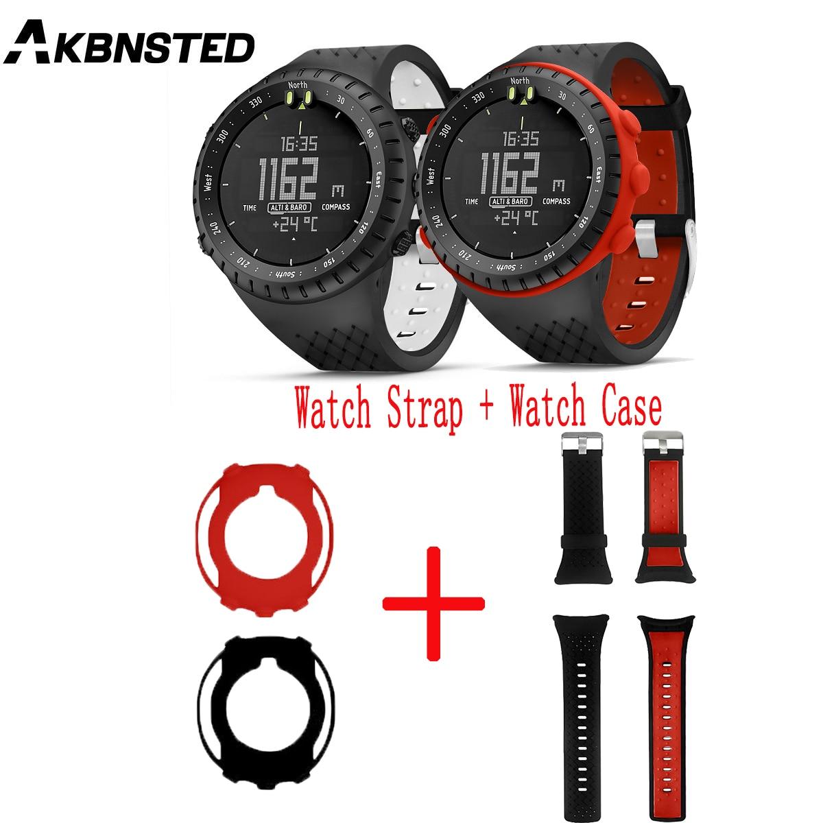 Akbnsted fot suunto núcleo relógio inteligente 2 in1 colorido silicone pulseira de relógio + silicone macio caso protetor substituir acessórios