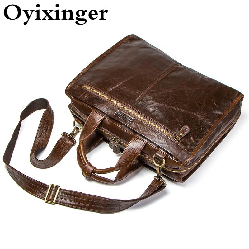 OYIXINGER Men Genuine Leather Laptop Handbags For 15