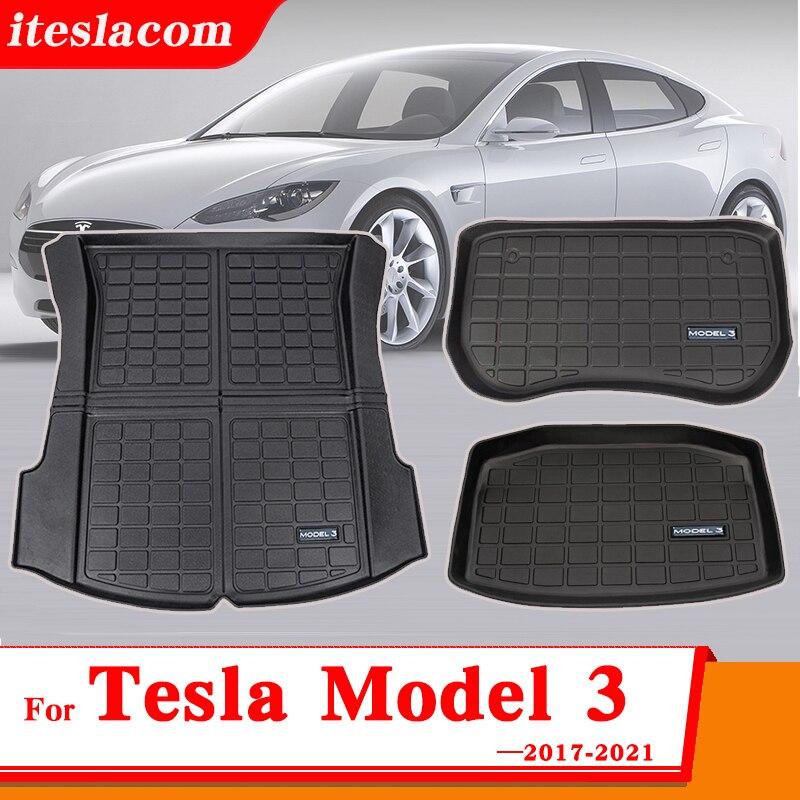 3Pcs/Set Upgrade Model 3 2021 Trunk Mat For Tesla Model 3 Mat Accessories Car Trunk Mats Model Three