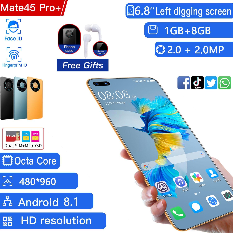 Mate 45 Pro Smartphone Global Version cellphone  6.8 inch Full Screen Deca Core 2600mAh 1GB 8GB 4G LTE  Network Mobile Phone