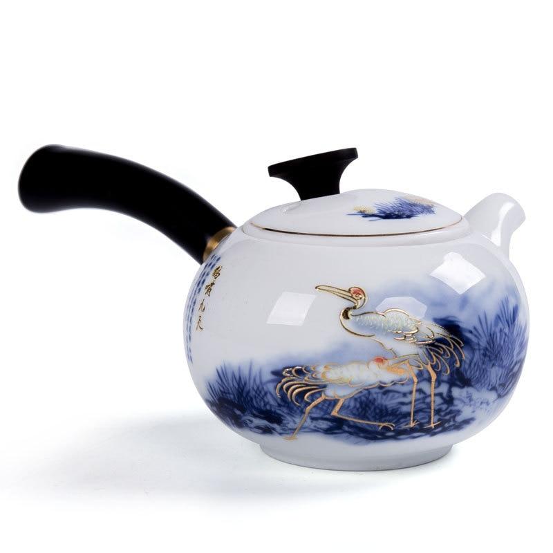 Tetera de cerámica de estilo japonés especial con mango de madera, juego de té de Ceremonia de Kung Fu