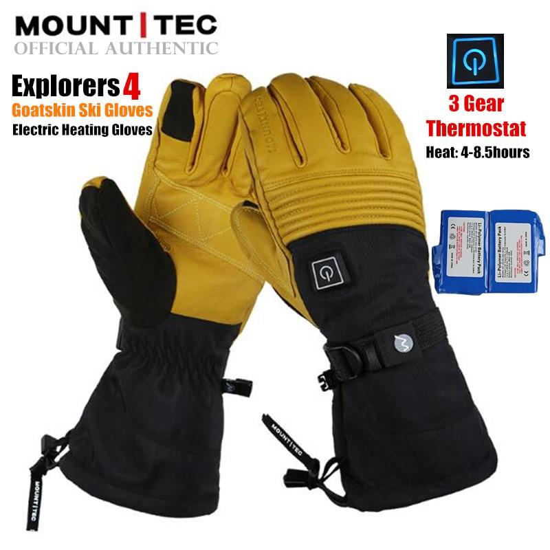 MOUNTITEC Explorers 4 Electric Heated Gloves Battery Powered Self Heating Touch Screen 3M Waterproof Riding Goatskin Ski Gloves