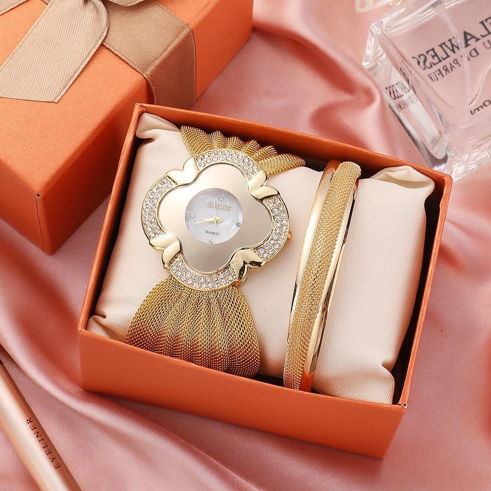 Women Watches Bracelet Set Creative Flower Dial Mesh Belt Watch Fashion Ladies Bracelets Quartz Clock 2Pcs Relogio Feminino Sets