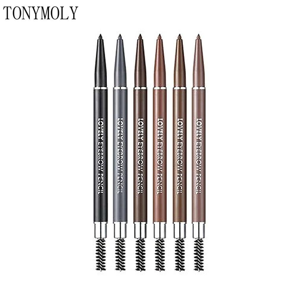 TONYMOLY Lovely Eyebrow Pencil 0.1g Korea Eyebrow Tattoo Pencil Cosmetic Long Lasting Natural Dark Brown Liquid Eye Brow Pencil