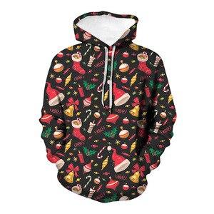 Unisex Christmas Bells Accessories 3D Digital Print Loose Hooded Sweater Pullover Women Men New Year Baseball Sweatshirt Hoodie