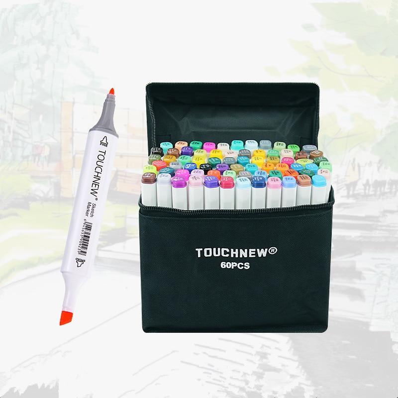 TOUCHNEW пользовательские одноцветные эскизные маркеры на спиртовой основе с двумя головками кисти Маркеры Ручка для рисования манга товары для рукоделия маркеры