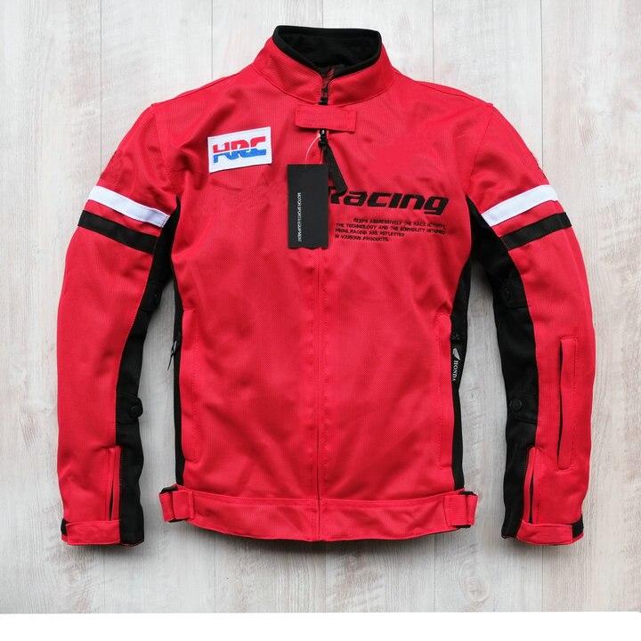 Red Textile Mesh Jacket para Honda Motorbike ATV bicicleta todoterreno moto chaquetas con Protector