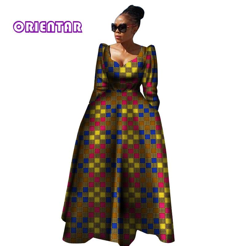 Women African Clothing Bazin Riche Robe Africaine African Dress 2020 Autumn Women Plus Size Pure Cotton Long Dress WY2849