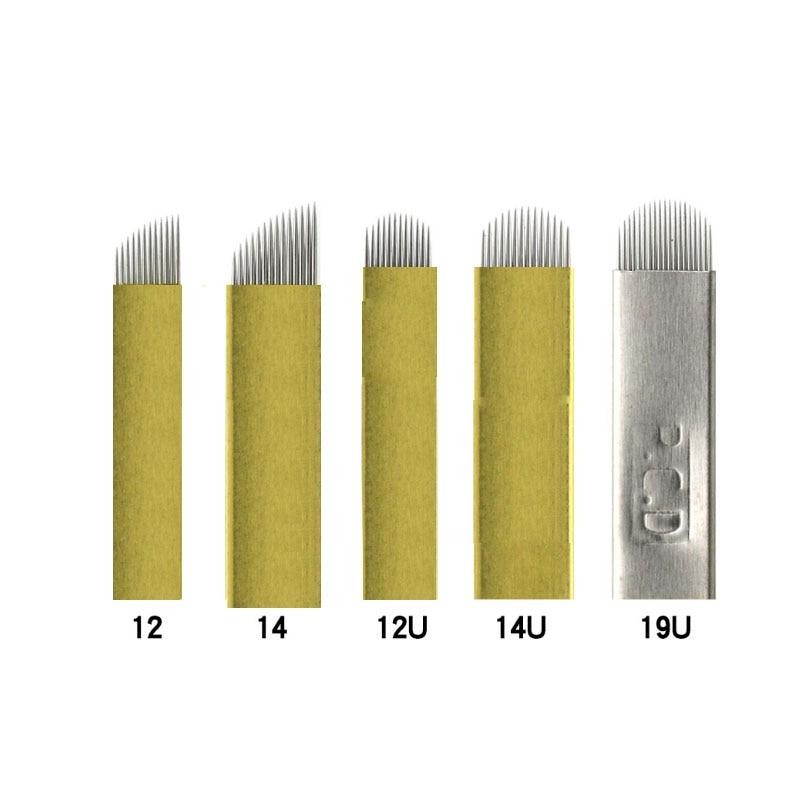 Agujas para microblading pcd agujas para Microblading PCD 12 14 U en forma de maquillaje permanente agujas de tatuaje de cejas Microblading Manual