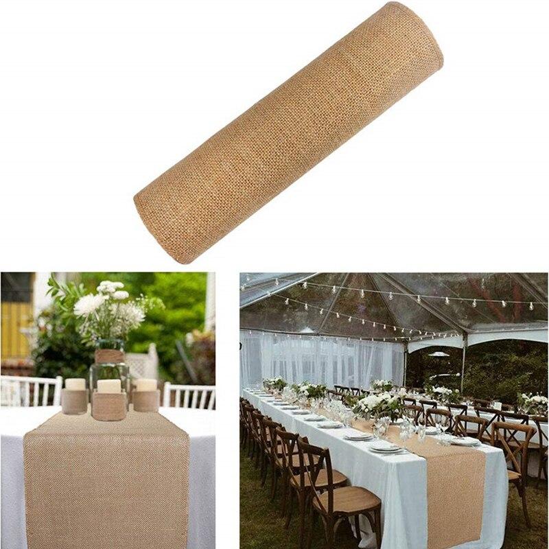 2m natural juta serapilheira hessian fita rolls vintage rústico para decoração de casamento presente de natal embrulho festival festa decoração