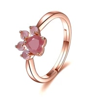 zemior adjustable opening sterling silver 925 rings for women pink cubic zircon rose gold color ring anniversary fine jewellery