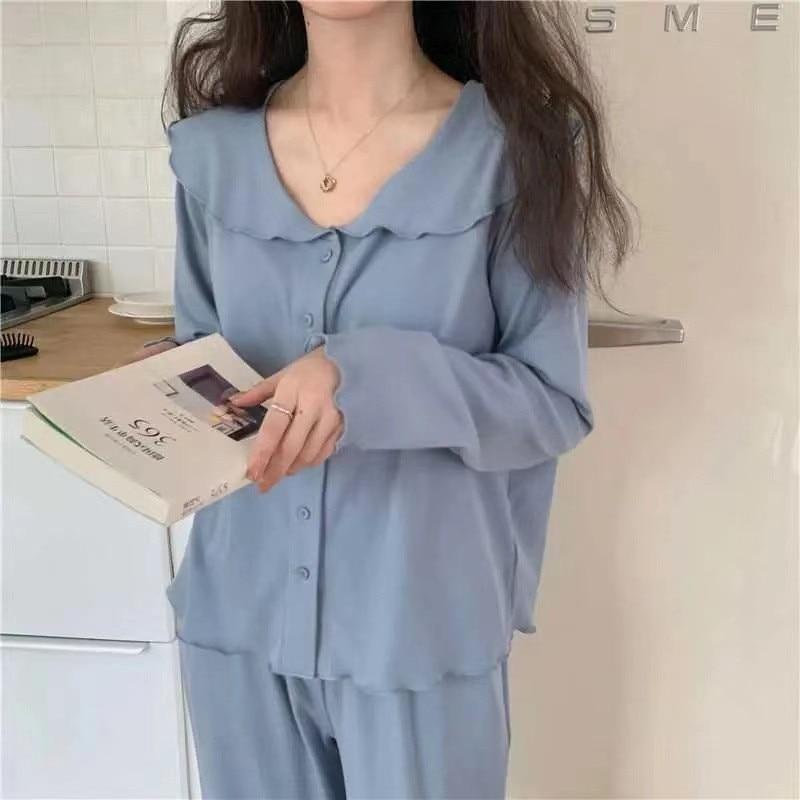 Women Spring Autumn Pajamas Set Thin Section Sleepwear For Women Long Sleeve Tops+ Pants Female Nigh