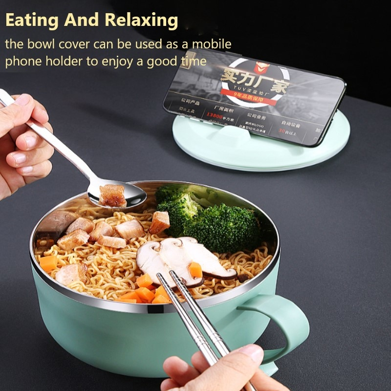 304 Stainless Steel Lunch Box Storage Containers Bento Box Portable Salad Bowl With Lid Large Capacity Fast Food Anti-scalding