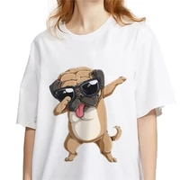 pug dog animal 90s print tshirt women cotton funny t shirt for lady girls hort sleeve o neck casual top tee hipster tee