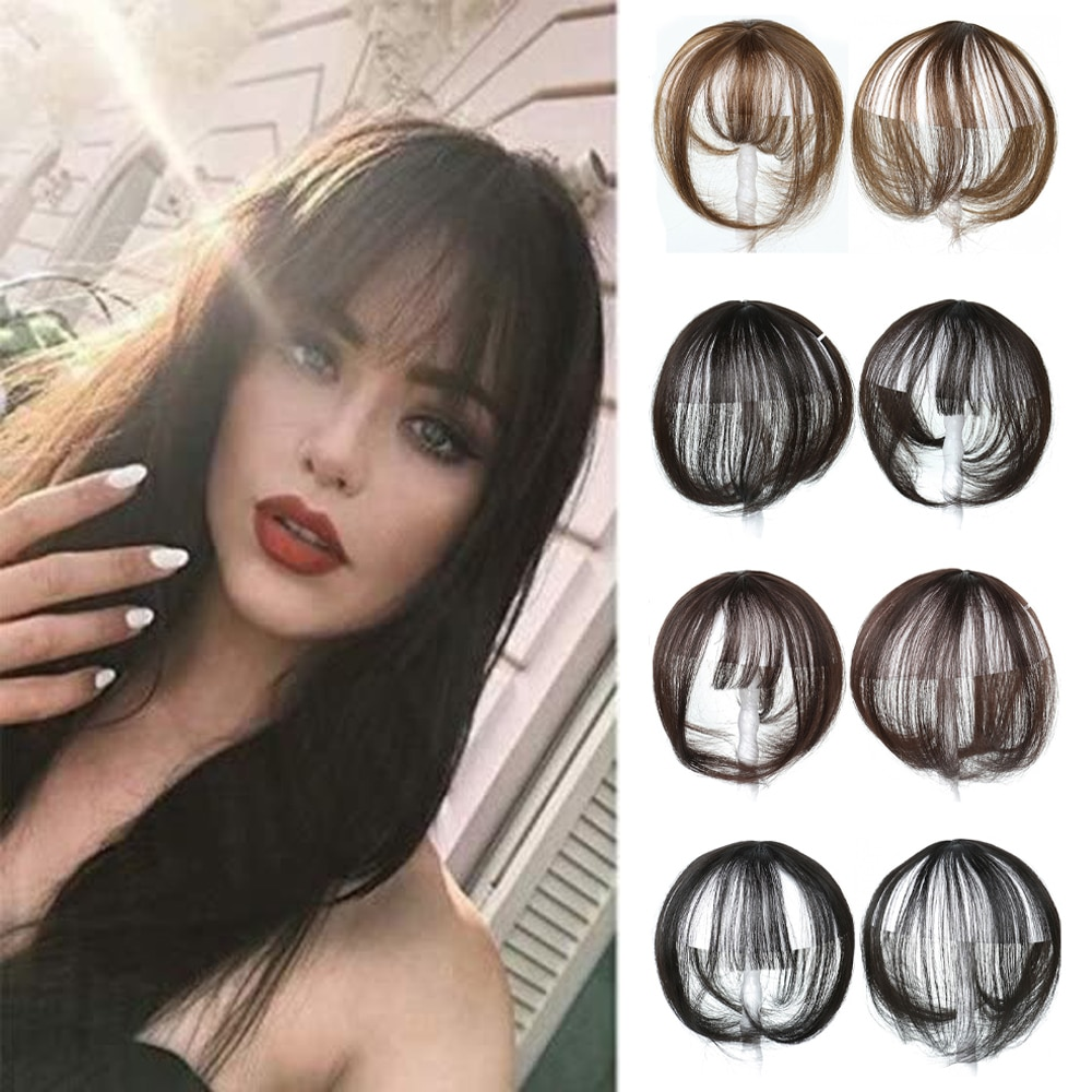 Synthetic Air Bangs Synthetic Fake Bangs Hair Piece Clip In Hair Extensions Blend Hair Clip In Hair Bangs Hairpiece