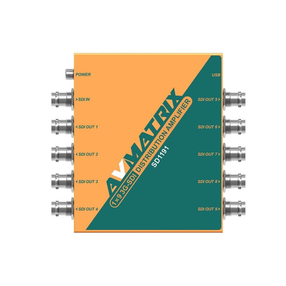 Avmatrix-Divisor de vídeo SD1191 SDI, 3G/HD/3G-SDI tiene 1 amplificador de distribución de salida de entrada 9, compatible con 1080P para Monitor de proyector