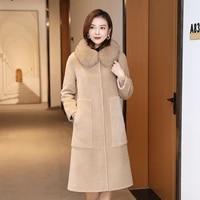 jacket vintage long sheep shearing women winter natural fox collar real coat female 100 wool jackets fur top hiver 9909