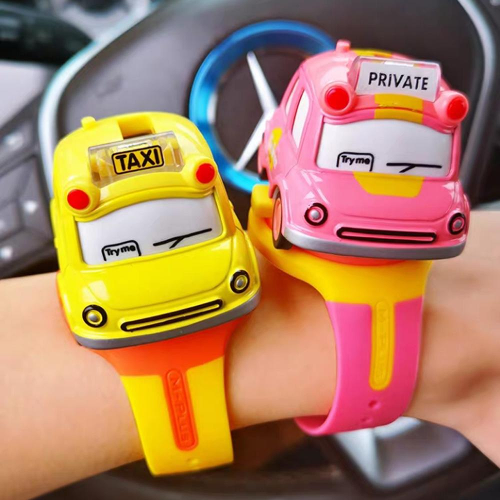 Cute Kids Children Watch Toys Mini Alloy Sound Light Bus Taxi Style Model Pull Back Car Watch Toy In