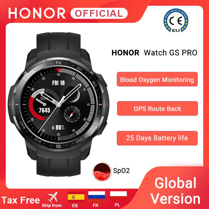 Global Version Honor Watch GS Pro Smart Watch SpO2 Smartwatch Heart Rate Monitoring Bluetooth Call 5