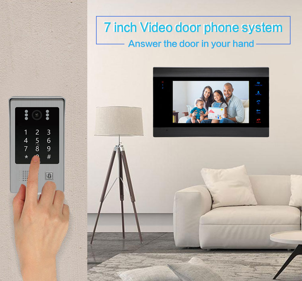 New Home Video Intercom Video Door Phone System 7 Inch Monitor Metal Doorbell IR LED Camera with Motion Detection enlarge