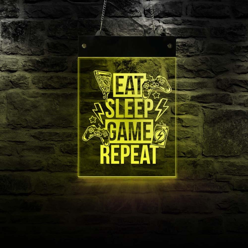 Eat Sleep Game-لوحة إضاءة LED نيون معلقة على الحائط ، ديكور منزلي ، مستطيل ، شاشة ألعاب كهربائية