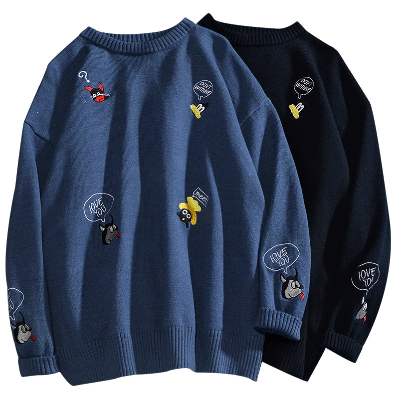 Sweater Men Harajuku Hip Hop Streetwear Men Clothing O-neck Casual Couple Pullovers Sweaters Male Student Sweaters Knitted Shirt