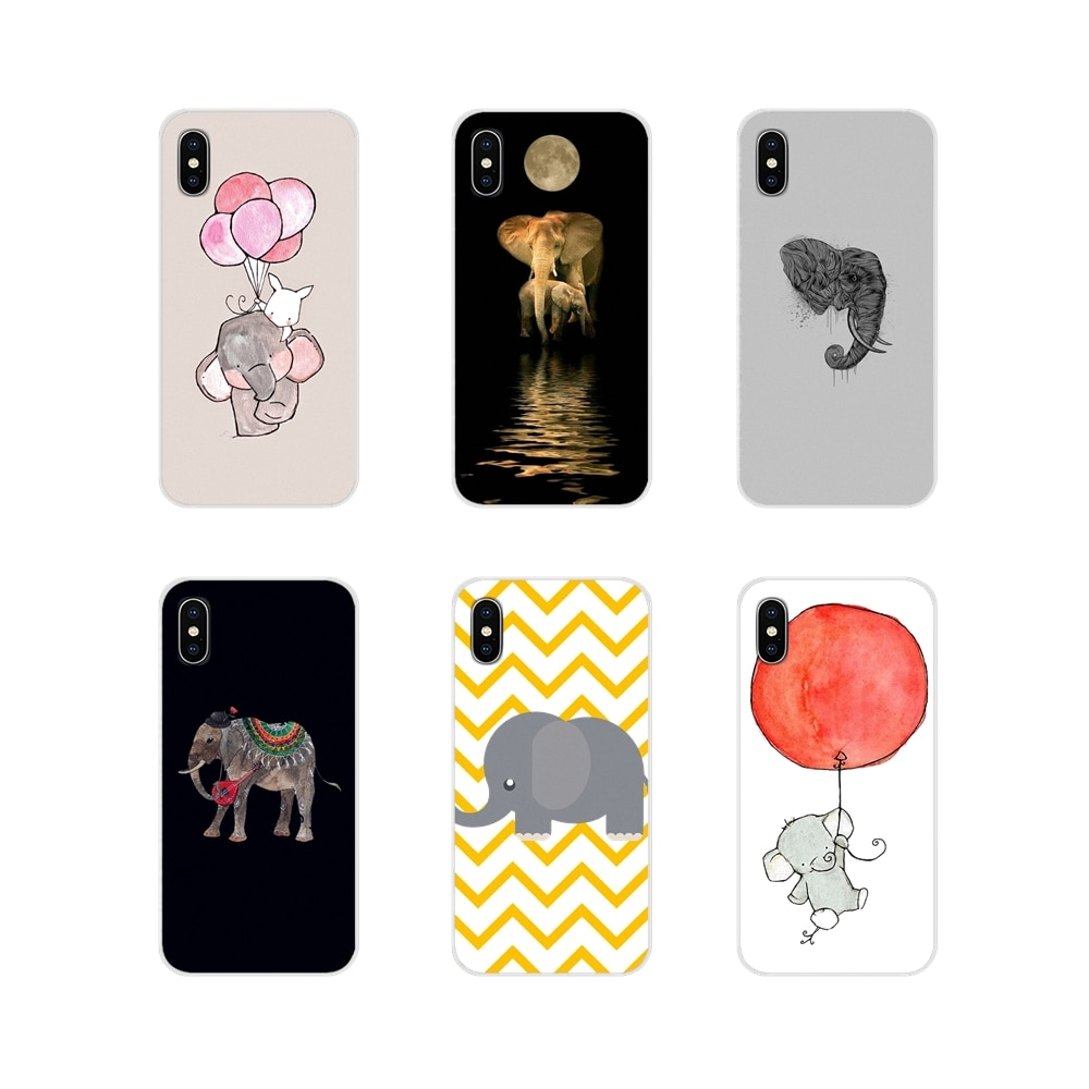 Cute Interesting Elephant Drawing Transparent TPU Cover Bag For Xiaomi Redmi 4A S2 Note 3 3S 4 4X 5 Plus 6 7 6A Pro Pocophone F1