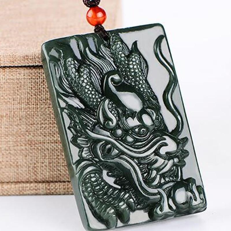 Colgante Natural de Hetian Qingyu, collar con colgante, joyería fina, joyería del zodiaco, dragón, Jade, collar de tarjeta, colgante, joyería