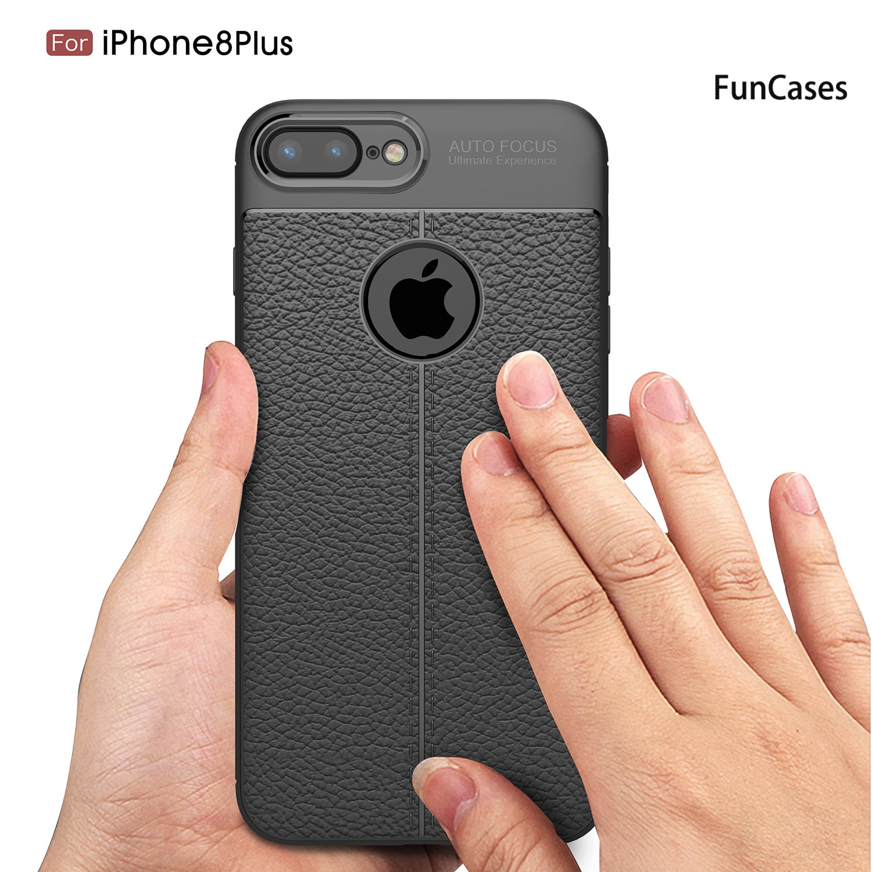 Funda antihuellas para iPhone 8 Plus, carcasa lisa con patrón de lichi...