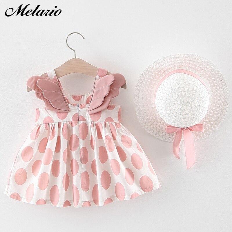 Melario bebê meninas vestidos com chapéu 2 pçs conjuntos de roupas crianças bebê sem mangas festa de aniversário princesa vestido impressão floral