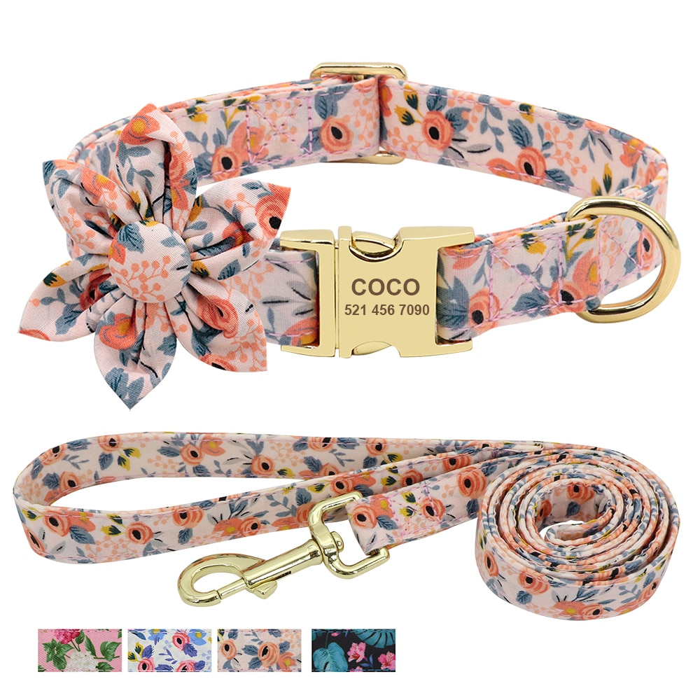 AliExpress - Custom Engraved Dog Collar With Leash Nylon Printed Dog ID Collars Pet Walking Belt For Small Medium Large Dogs Flower Accessory