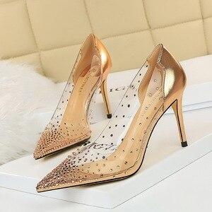 2021 New Fashion Golden Rhinestone PVC Transparent Women Pumps Autumn High Heels Sexy Party Wedding shoes Size 40