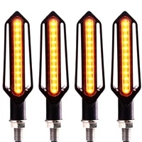 4pcs 24led motorcycle drl light brake strobe light flowing turn signal lights set of red white and yellow water4