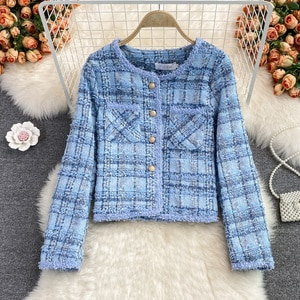 Autumn and winter 2021 Korean version of French celebrity xiaoxiangfeng tweed temperament top short blue coat female