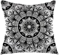 set of flower mandala style pillowcase square cushion cover suitable for sofa home living room decoration black white