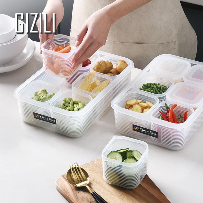 Кухонный Контейнер для хранения еды, пластиковая сетка для холодильника, прозрачная коробка для хранения овощей, фруктов и зерен, герметичн...