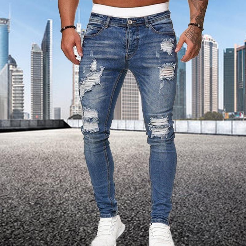 Модные рваные узкие джинсы в уличном стиле, мужские винтажные однотонные джинсовые брюки, мужские повседневные облегающие джинсовые брюки-...