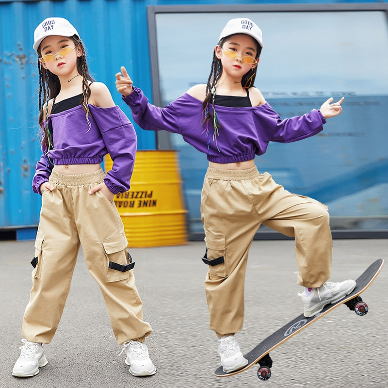 أزياء رقص الجاز للفتيات ، ملابس رقص الهيب هوب ، ملابس ممارسة الرقص في الشارع ، زي أداء مسرحي للأطفال ، ملابس أرجوانية DF1634