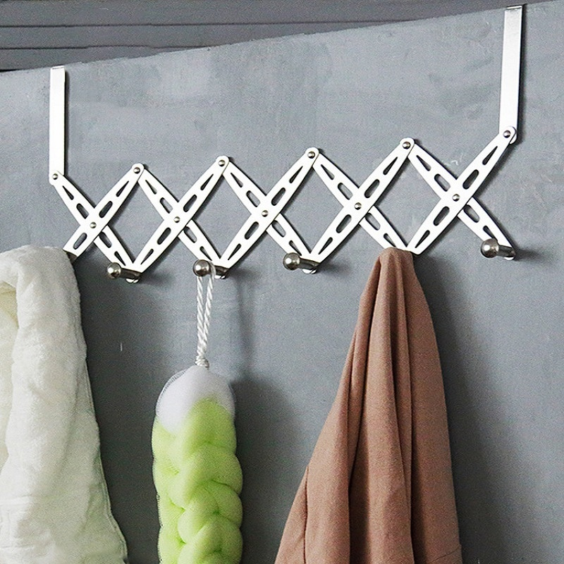 Over The Door 6 Hooks Home Bathroom Organizer Rack Clothes Coat Hat Towel Hanger Housekeeping Stainless Steel floating shelf