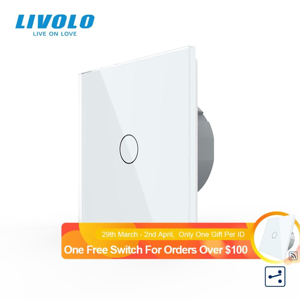 Livolo EU Standard 2 Way Wall Touch Screen Control  Switch, Crystal Glass Panel, 220-250V,cross switch,pass through control
