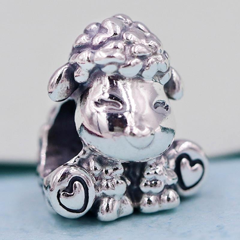 Original Vintage Cute Patti the Sheep Beads Fit 925 Sterling Silver Animal Bead Charm Pandora Bracelet Bangle DIY Jewelry