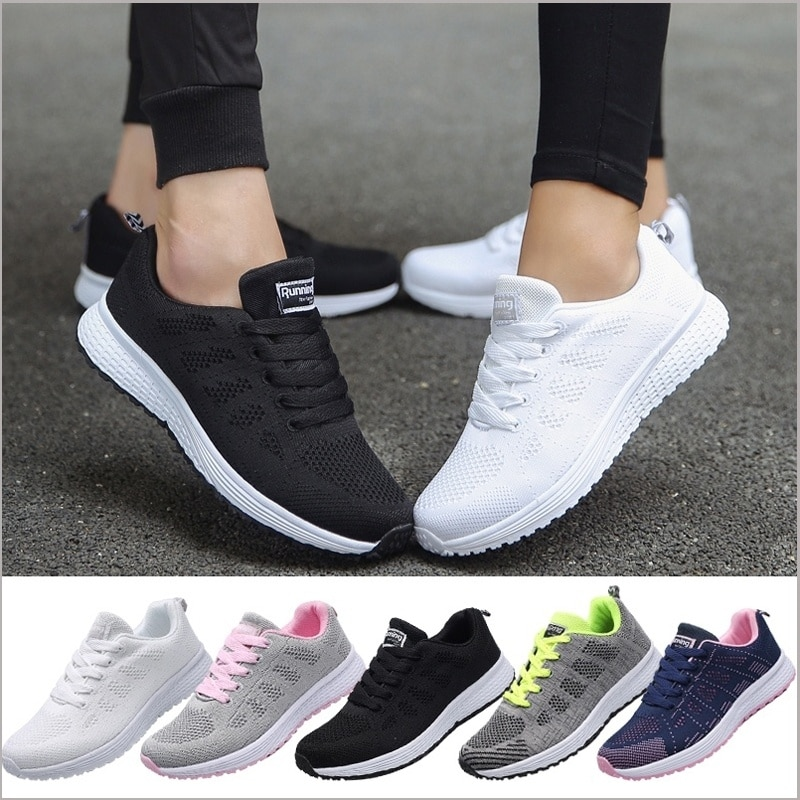 ZOXO Women Casual Sport Shoes Fashion Men Running Shoes Weave Air Mesh Sneakers Black White Non Slip Footwear Breathable Jogging