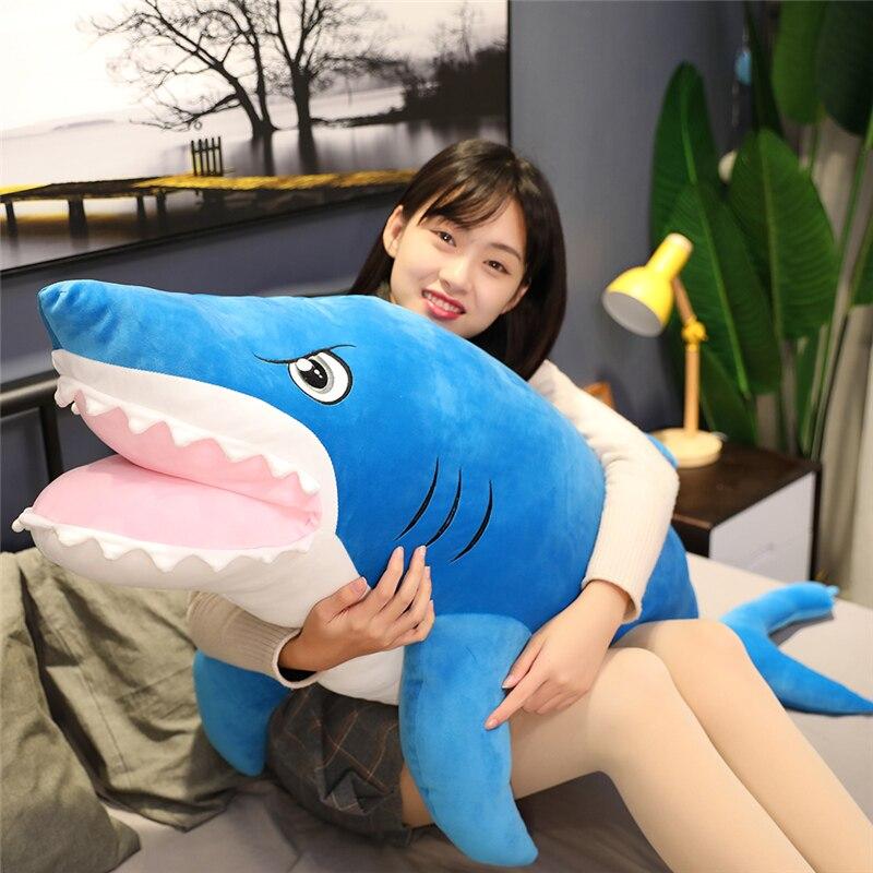 Novo huggable macio tubarão brinquedos de pelúcia animais de pelúcia bonecas tubarão brinquedos de pelúcia da rússia ike um grande travesseiro sofá almofada presente da menina