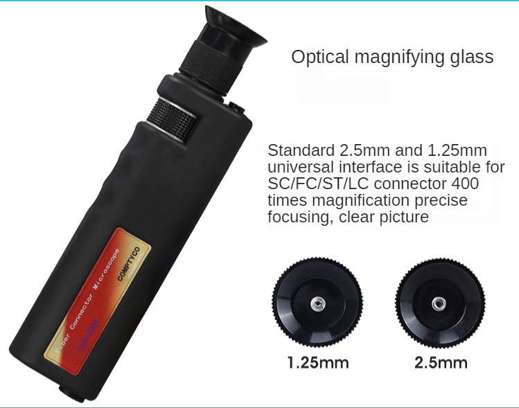 Fiber End Cleaning Tool Kit Package 12set Optical Fiber Clean Pen Cleaning Box Fiber Optic Magnifier 400 enlarge