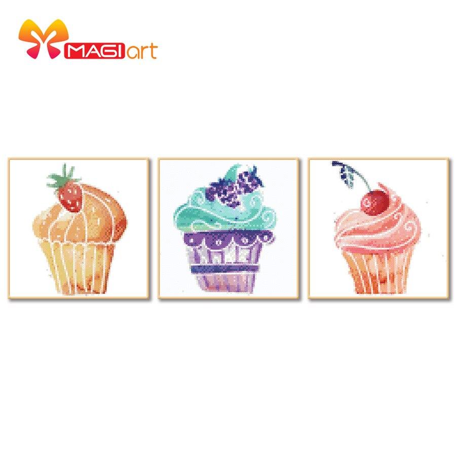 Kits de punto de cruz juegos de costura bordados patrones de lona solubles en agua 11CT estilo de dibujos animados Cupcake-NCMC010 coloridos