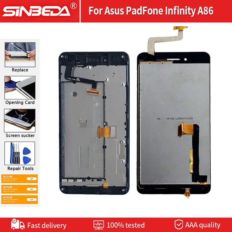 Pantalla LCD de 5,0 pulgadas + marco para Asus PadFone Infinity A86,...