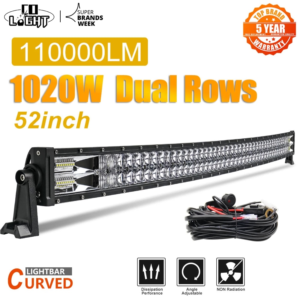 "CO LIGHT 52"" Led Light Bar 1020W Led Work Lights 12V 24V Spot Flood Combo Beam for Truck Tractor SUV 4X4 4WD Offroad Barra Light"