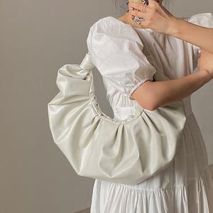 Luxury Pleated Designer Handbags Women Bags Leather Female Shoulder Bag Elegant Underarm Bag Soft Horns Round clutch Sac A Main