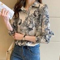 fashion women shirt ink print single breasted autumn breathable lapel long sleeve blouse streetwear daily wear